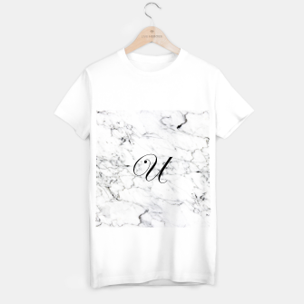 Thumbnail image of Abstract natural marble texture and alphabet U T-shirt regular, Live Heroes