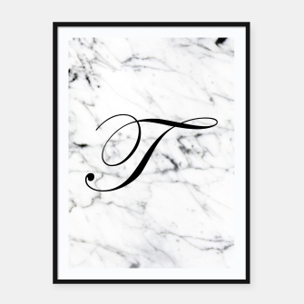 Thumbnail image of Abstract natural marble texture and alphabet T Framed poster, Live Heroes