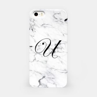 Thumbnail image of Abstract natural marble texture and alphabet U iPhone Case, Live Heroes