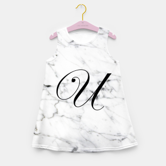 Miniatur Abstract natural marble texture and alphabet U Girl's summer dress, Live Heroes