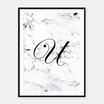 Thumbnail image of Abstract natural marble texture and alphabet U Framed poster, Live Heroes