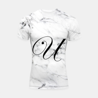Miniature de image de Abstract natural marble texture and alphabet U Shortsleeve rashguard, Live Heroes