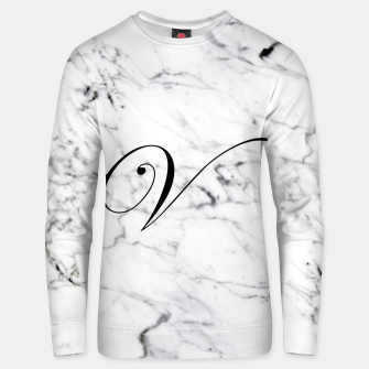 Miniature de image de Abstract natural marble texture and alphabet V Unisex sweater, Live Heroes