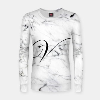 Miniatur Abstract natural marble texture and alphabet V Women sweater, Live Heroes