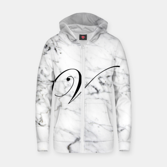 Miniaturka Abstract natural marble texture and alphabet V Zip up hoodie, Live Heroes