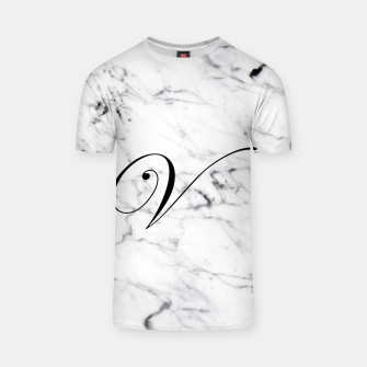 Miniaturka Abstract natural marble texture and alphabet V T-shirt, Live Heroes