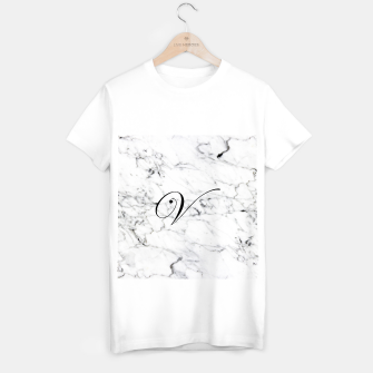 Thumbnail image of Abstract natural marble texture and alphabet V T-shirt regular, Live Heroes