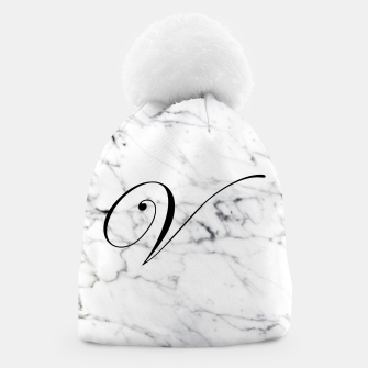 Miniatur Abstract natural marble texture and alphabet V Beanie, Live Heroes