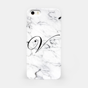 Imagen en miniatura de Abstract natural marble texture and alphabet V iPhone Case, Live Heroes