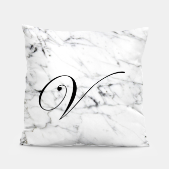 Miniaturka Abstract natural marble texture and alphabet V Pillow, Live Heroes