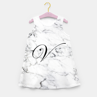 Miniatur Abstract natural marble texture and alphabet V Girl's summer dress, Live Heroes