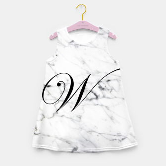 Miniatur Abstract natural marble texture and alphabet W Girl's summer dress, Live Heroes