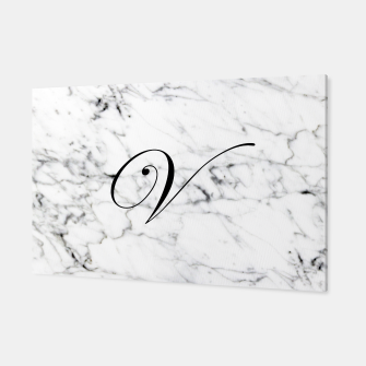 Miniatur Abstract natural marble texture and alphabet V Canvas, Live Heroes