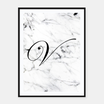 Thumbnail image of Abstract natural marble texture and alphabet V Framed poster, Live Heroes