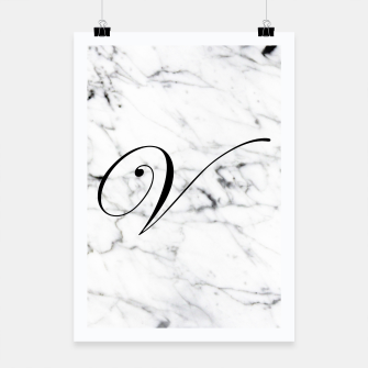 Miniature de image de Abstract natural marble texture and alphabet V Poster, Live Heroes