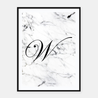 Thumbnail image of Abstract natural marble texture and alphabet W Framed poster, Live Heroes