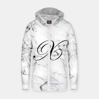 Miniaturka Abstract natural marble texture and alphabet X Zip up hoodie, Live Heroes