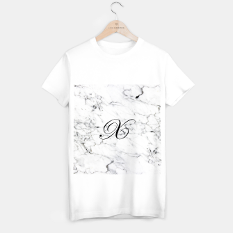 Thumbnail image of Abstract natural marble texture and alphabet X T-shirt regular, Live Heroes