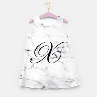 Miniatur Abstract natural marble texture and alphabet X Girl's summer dress, Live Heroes