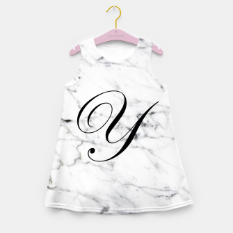 Miniatur Abstract natural marble texture and alphabet Y Girl's summer dress, Live Heroes