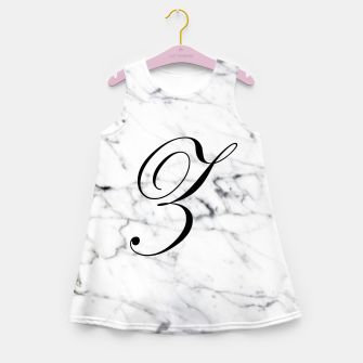 Miniatur Abstract natural marble texture and alphabet Z Girl's summer dress, Live Heroes
