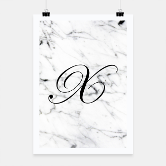 Thumbnail image of Abstract natural marble texture and alphabet X Poster, Live Heroes