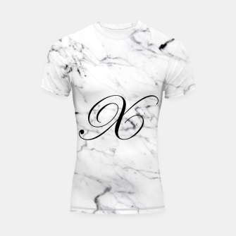 Thumbnail image of Abstract natural marble texture and alphabet X Shortsleeve rashguard, Live Heroes
