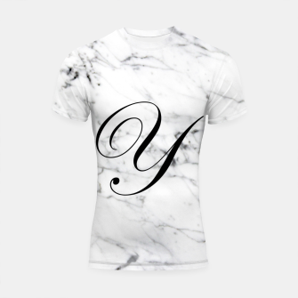 Thumbnail image of Abstract natural marble texture and alphabet Y Shortsleeve rashguard, Live Heroes