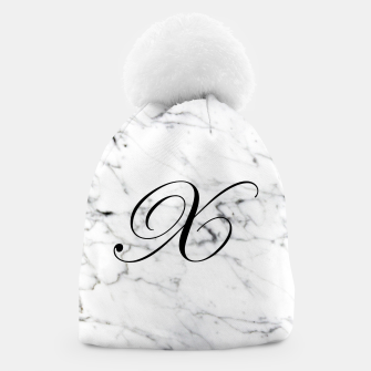 Thumbnail image of Abstract natural marble texture and alphabet X Beanie, Live Heroes