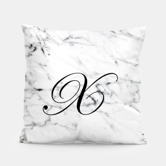 Thumbnail image of Abstract natural marble texture and alphabet X Pillow, Live Heroes