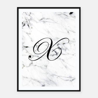 Thumbnail image of Abstract natural marble texture and alphabet X Framed poster, Live Heroes