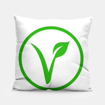 Miniatur Universal vegetarian symbol- The V-label- V with a leaf, originated with the European Vegetarian Union Pillow, Live Heroes