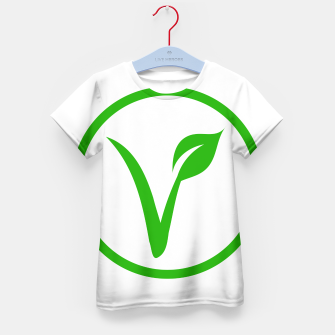 Miniatur Universal vegetarian symbol- The V-label- V with a leaf, originated with the European Vegetarian Union Kid's t-shirt, Live Heroes