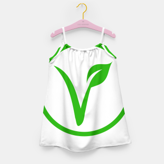 Miniatur Universal vegetarian symbol- The V-label- V with a leaf, originated with the European Vegetarian Union Girl's dress, Live Heroes