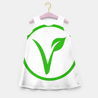 Thumbnail image of Universal vegetarian symbol- The V-label- V with a leaf, originated with the European Vegetarian Union Girl's summer dress, Live Heroes