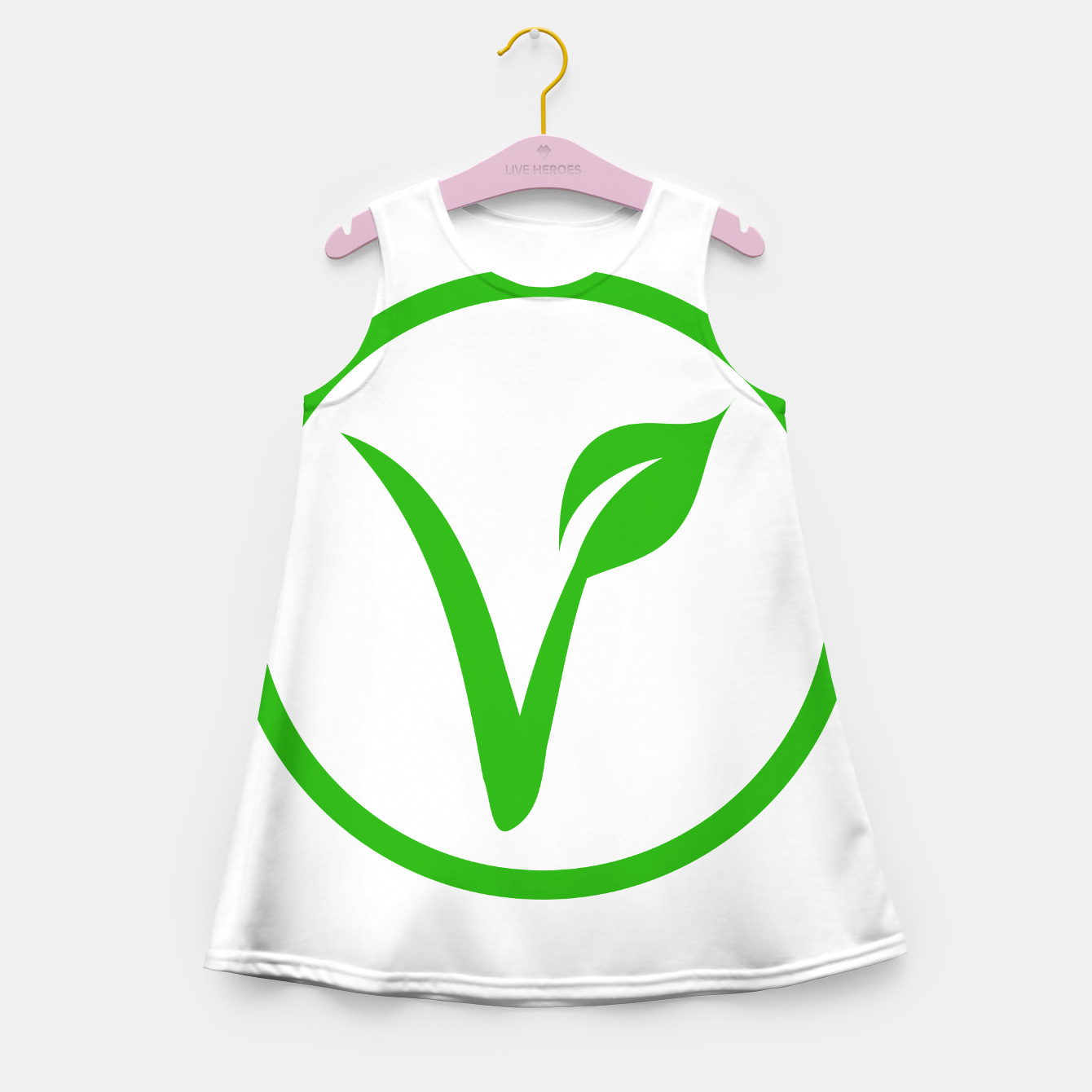 Zdjęcie Universal vegetarian symbol- The V-label- V with a leaf, originated with the European Vegetarian Union Girl's summer dress - Live Heroes