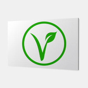 Thumbnail image of Universal vegetarian symbol- The V-label- V with a leaf, originated with the European Vegetarian Union Canvas, Live Heroes