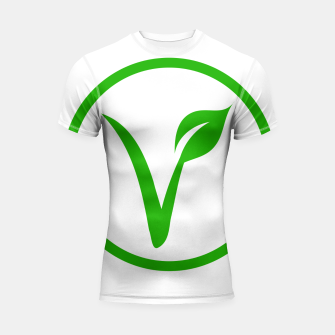Thumbnail image of Universal vegetarian symbol- The V-label- V with a leaf, originated with the European Vegetarian Union Shortsleeve rashguard, Live Heroes
