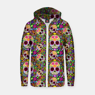 Thumbnail image of Sugar Skull Floral Art Mexican Calaveras Zip up hoodie, Live Heroes
