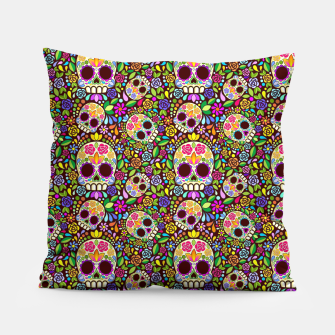Thumbnail image of Sugar Skull Floral Art Mexican Calaveras Pillow, Live Heroes