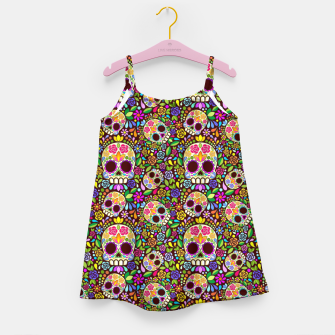 Thumbnail image of Sugar Skull Floral Art Mexican Calaveras Girl's dress, Live Heroes