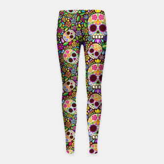Thumbnail image of Sugar Skull Floral Art Mexican Calaveras Girl's leggings, Live Heroes