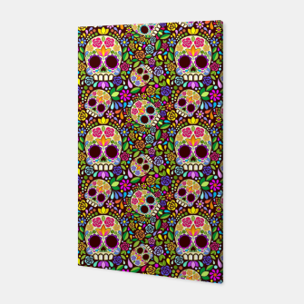 Thumbnail image of Sugar Skull Floral Art Mexican Calaveras Canvas, Live Heroes