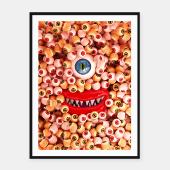 Thumbnail image of Monster Eyes Party Smile Framed poster, Live Heroes