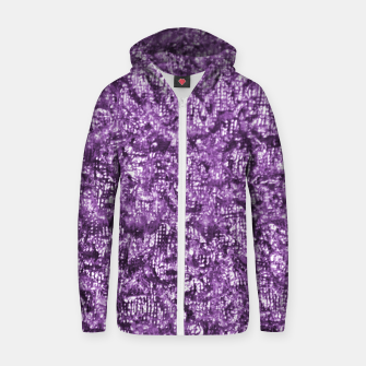 Thumbnail image of Violet Glitter Abstract Print Zip up hoodie, Live Heroes