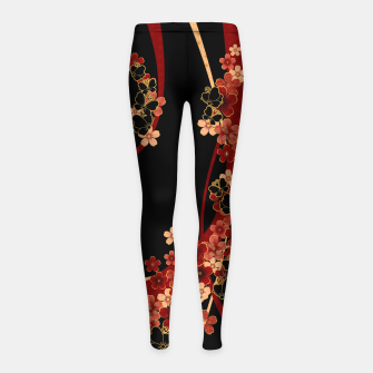 Imagen en miniatura de Japanese tradirional emblem design Flower and Butterfly Girl's leggings, Live Heroes