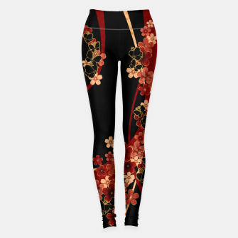 Miniaturka Japanese tradirional emblem design Flower and Butterfly Leggings, Live Heroes