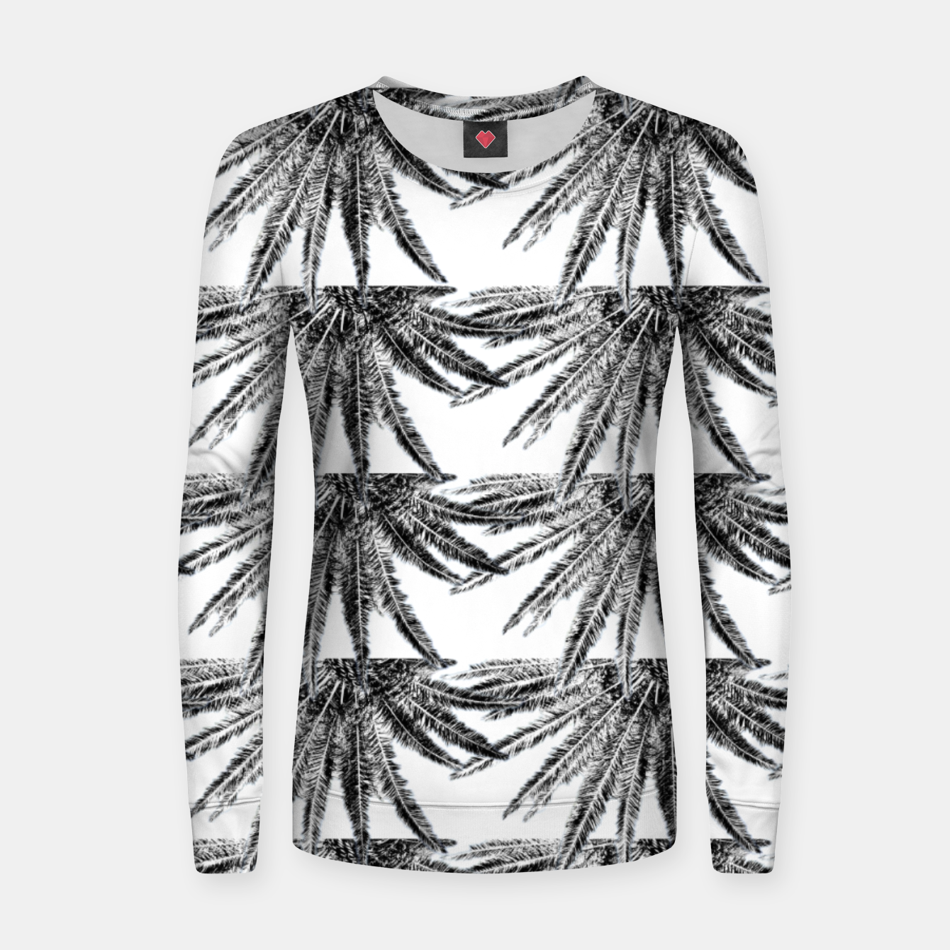 Image of Abstract Palm Leaves in black and white Frauen sweatshirt - Live Heroes