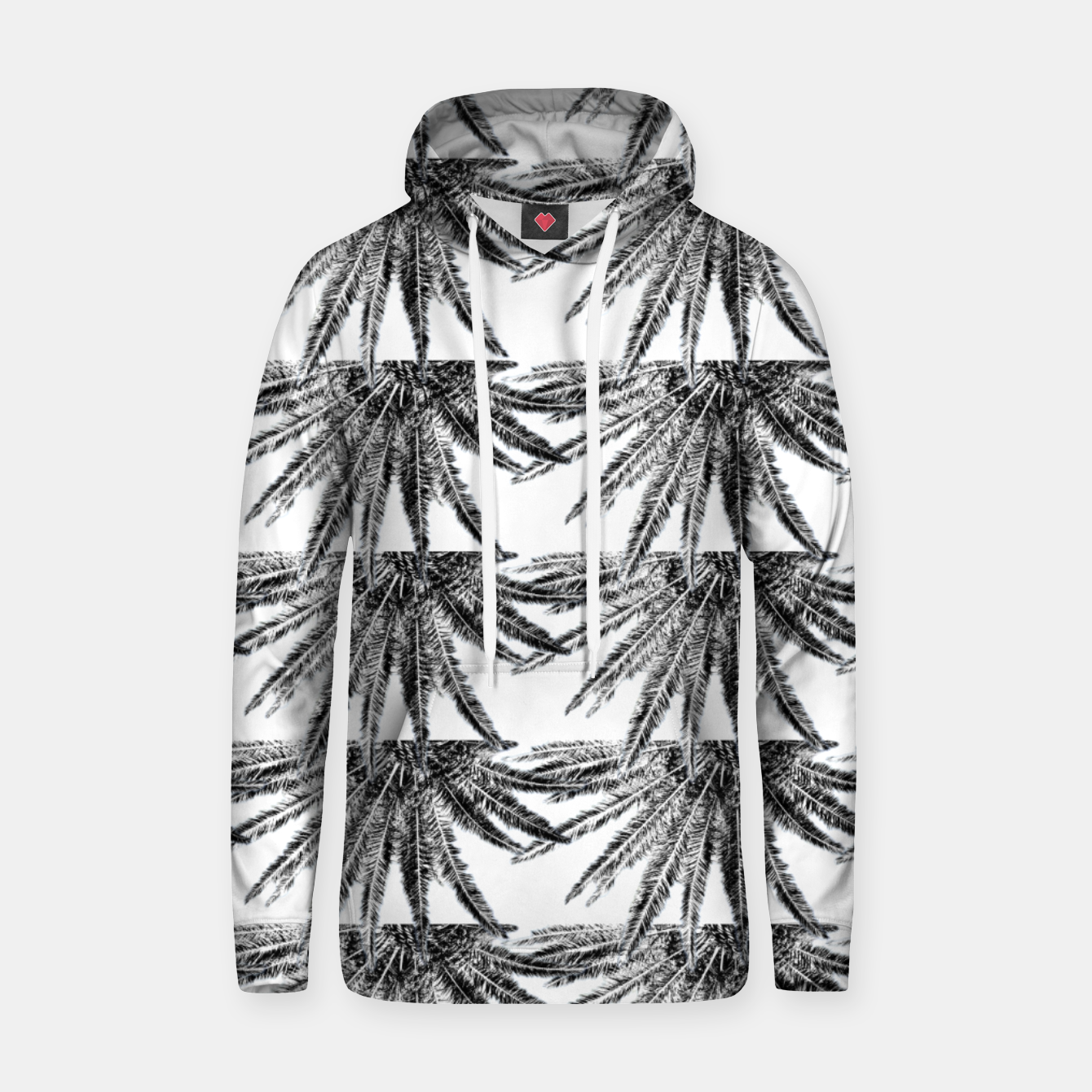 Image of Abstract Palm Leaves in black and white Kapuzenpullover - Live Heroes