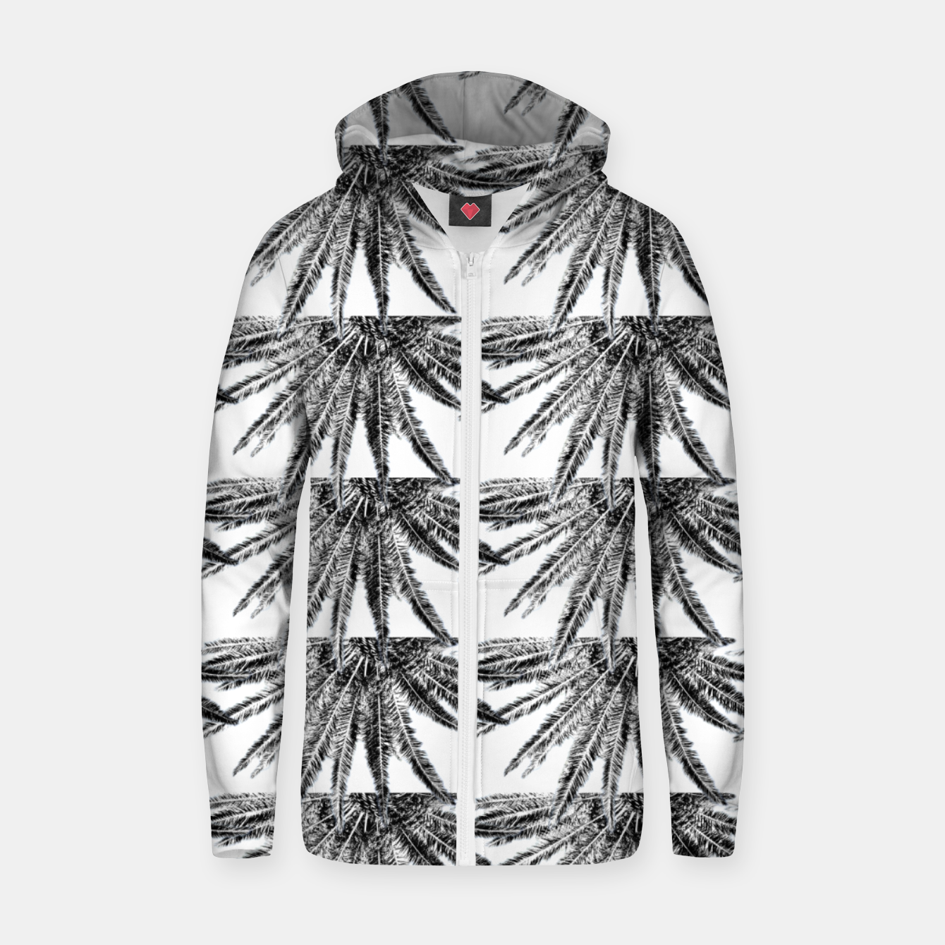 Image of Abstract Palm Leaves in black and white Reißverschluss kapuzenpullover - Live Heroes